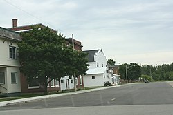 Looking east at downtown Hermansville