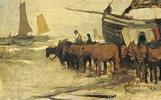 Mise à l'eau d'un bateau de pêche (type « rose »)