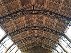 Central hall ceiling and girders