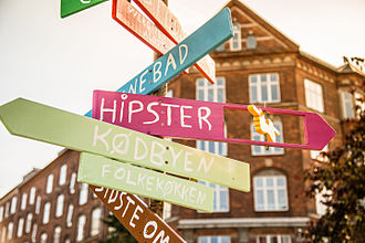 "Hipster (contemporary subculture) - A collection of signs in Copenhagen, Denmark, includes a sign for ""Hipster""."