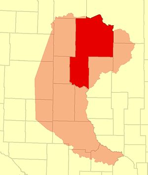 Cass County, Minnesota - Cass County of 1851 (shown in pink) and today (shown in red)