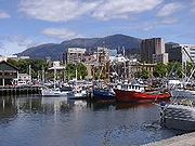 View of Hobart foreshore with Mt Wellington in the background