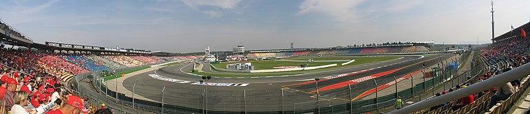 Vue du circuit d'Hockenheim depuis les tribunes sud.