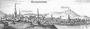 Schöneberg (Hofgeismar) - Hofgeismar and Schöneberg in 1655