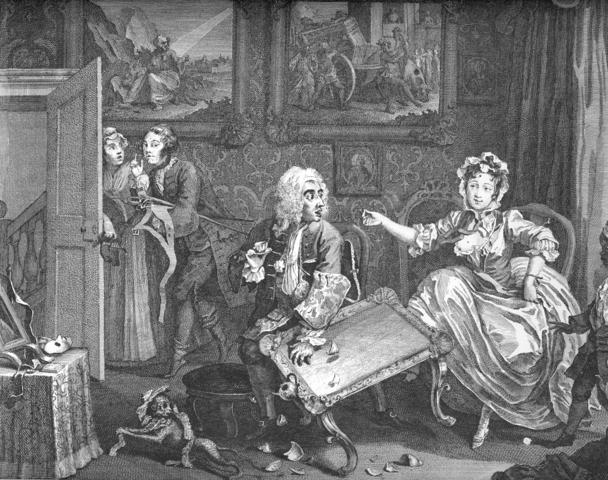 William Hogarth: A Harlot`s Progress, 1732, Blatt 2 (Leichtfertigkeit), Radierung und Kupferstich