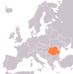 Map indicating locations of Holy See and Romania