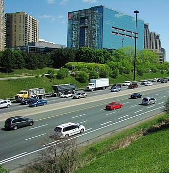 Victoria Village - Several commercial buildings are located near the Don Valley Parkway, on Eglinton.