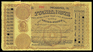 Homer Lee Bank Note Company - An 1883 United States postal note of Homer Lee Bank Note Co., Philadelphia 7 Sept 1883.
