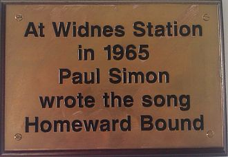 Homeward Bound (song) - A plaque commemorating the song at the Widnes railway station.