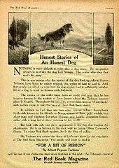 Three graphics panel at the top of a magazine page depict trees and a grass land.  A dog, a Rough Collie, stands in the center panel.  Text underneath the panels praise Terhune's writing abilities and call for readers to buy the next issue to read Terhune's next short story.
