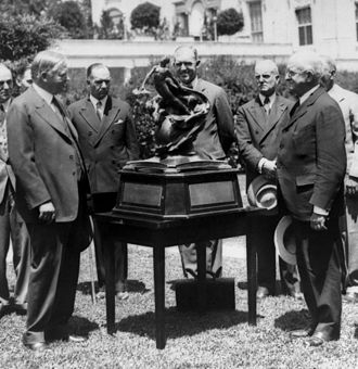 Collier Trophy - Herbert Hoover presents the Collier Trophy to NACA Chairman Joseph Ames in 1929