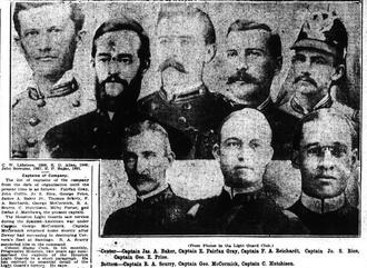 James A. Baker (born 1857) - Collage of portraits of Houston Light Guard captains