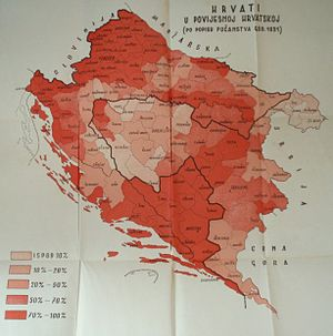 """Croat Muslims - This 1939 map printed by Mladen Lorković in the Banovina of Croatia presents the results of the 1931 census such that all Catholic Croats as well as Muslims are identified as simply """"Croats""""."""