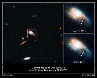 Gamma-ray burst - Hubble Space Telescope captures infrared glow of a kilonova blast.