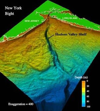 Hudson Canyon - A false-color depiction of the Hudson Canyon on the continental margin off New York and New Jersey at the outlet of the Hudson River
