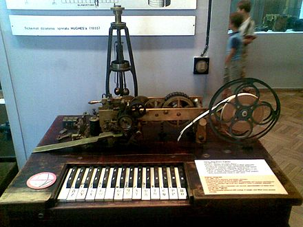 Hughes telegraph (1866-1914) transmitter keyboard to send text over telegraph wires to be printed as text on a paper tape. Manufactured by Siemens & Halske, Germany; range: 300-400 km Hughes telegraph.jpg