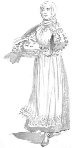 Women in Hungary - Hungarian peasant in the 17th century - illustration by Percy Anderson for Costume Fanciful, Historical and Theatrical, 1906