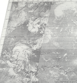 1967 Atlantic hurricane season - Composite of ESSA 2 photographs showing hurricanes Beulah, Doria, and Chloe