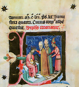 Stephen III of Hungary -  Stephen III is crowned king (from the Illuminated Chronicle)