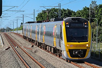 Railway electrification in Australia - An Interurban Multiple Unit at Murrumba Downs