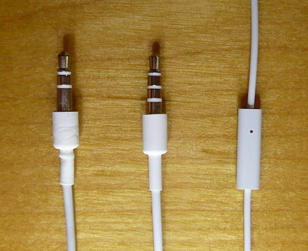 All iPhone models from the first generation to the 6S and SE use a four-conductor (TRRS) phone connector (center) for a wired headset. Microphone and control (right). IPod and iPhone audio plugs.JPG