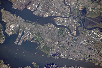 Port of New York and New Jersey - Aerial view of Upper New York Bay-Port Jersey and Newark Bay-Port Newark-Elizabeth