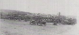 Capture of Jenin - Some of the captured Ottoman transport vehicles at Jenin
