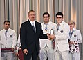 Ilham Aliyev met with athletes who competed in 31st Summer Olympic Games (Ilham Aliyev and Kamran Shakhsuvarly).jpg