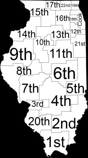 Judiciary of Illinois - Map of Illinois judicial circuits