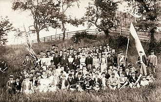 Imatra Society, consisting of Finnish immigrants, celebrating its summer festival in Fort Hamilton, Brooklyn in 1894. Imatra Society's summer festival.jpg