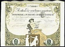 """Darstellung von Alois Senefelder auf einer Aktie der Druckerei """"Imprimerie et Publicité Charles Verneau"""" vom 1. Februar 1899 (Quelle: Wikimedia)"""