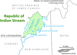 Location of the Republic of Indian Stream, bordered to the north by the British colony of Lower Canada and to the south by the American state of New Hampshire.