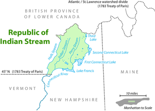 Republic of Indian Stream unrecognized constitutional republic in North America, along the section of the border that divides the current Canadian province of Quebec from the U.S. state of New Hampshire; existed from July 9, 1832, to August 5, 1835
