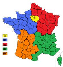 Indicatifs téléphonique de la France métropolitaine.