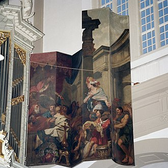 Westerkerk - Inside of the right panel of the main organ 'The queen of Sheba is visiting King Solomon'