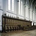 Interieur, overzicht van het koorgestoelte in de abdijkerk - Berkel-Enschot - 20385387 - RCE.jpg