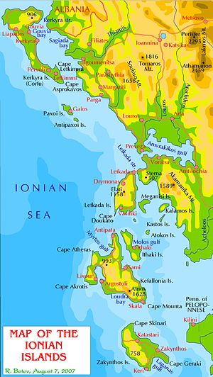 Map of Ionian Islands in English