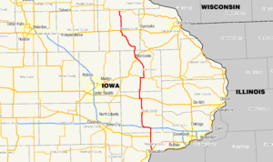 Iowa Highway 38 - Image: Iowa 38 map
