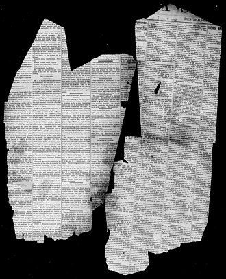 Iowa Bystander - Fragments of first issue of newspaper published in Des Moines, IA, June 15, 1894