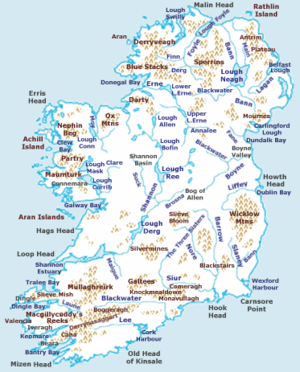 Extreme points of Ireland - A physical map of Ireland