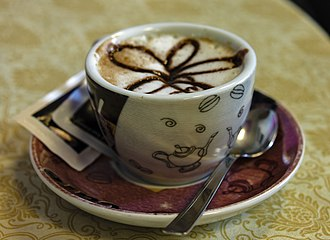 Cappuccino - Cappucino as traditionally served with breakfast in Italy, in a small cup with some chocolate garnish