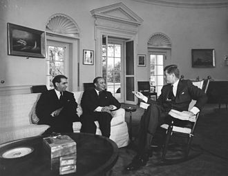 Mohammad Ali Bogra - Mohammad Ali Bogra (centre) with John F. Kennedy (right) at the Oval Office in 1962