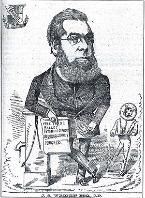 """John Skirrow Wright - Cartoon of John Skirrow Wright, 1876. His scroll reads """"Free Trade; Ballot; Extended Suffrage; Religious Liberty; Progress"""". The footman in the background has the head of a button, in allusion to Wright's commercial roots."""