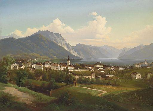 J Wilhelm Jankowsky Blick auf Gmunden mit Schloss Orth 1860