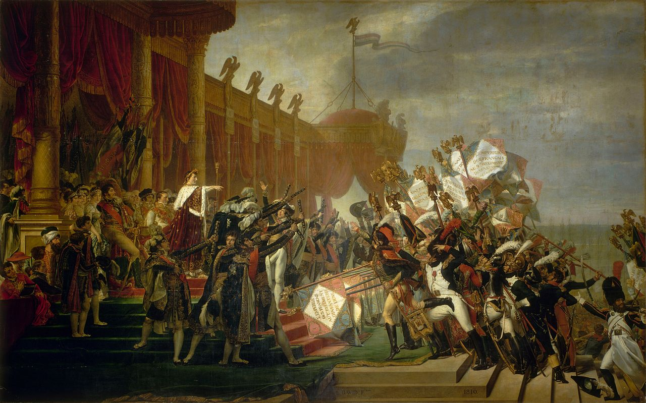 http://upload.wikimedia.org/wikipedia/commons/thumb/7/7d/Jacques_Louis_David_-_Serment_de_l%27arm%C3%A9e_fait_%C3%A0_l%27Empereur_apr%C3%A8s_la_distribution_des_aigles%2C_5_d%C3%A9cembre_1804_-_Google_Art_Project.jpg/1280px-Jacques_Louis_David_-_Serment_de_l%27arm%C3%A9e_fait_%C3%A0_l%27Empereur_apr%C3%A8s_la_distribution_des_aigles%2C_5_d%C3%A9cembre_1804_-_Google_Art_Project.jpg