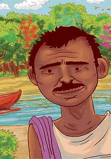 An illustration of Jadav 'Molai' Payeng, from the children's book 'Jadav and the Tree-Place'