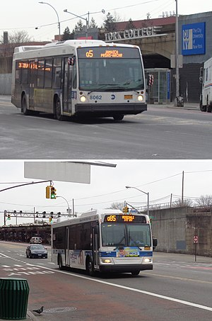 A Q5 bus and a Q85 bus at Jamaica Center
