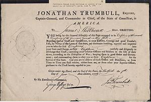 James Hillhouse - Commission for James HIllhouse in the Governor's Foot Guards, June, 1779