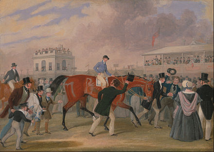 The Epsom Derby; painting by James Pollard, c. 1840 James Pollard - The Derby Pets- The Winner - Google Art Project.jpg