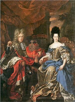 Anna Maria Luisa de' Medici - Image: Jan Frans van Douven, Doppelbildnis Johann Wilhelm von der Pfalz und Anna Maria Luisa de' Medici (1708)